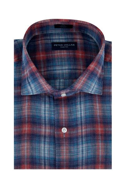 Peter Millar - Blue & Red Lion Park Plaid Linen Sport Shirt