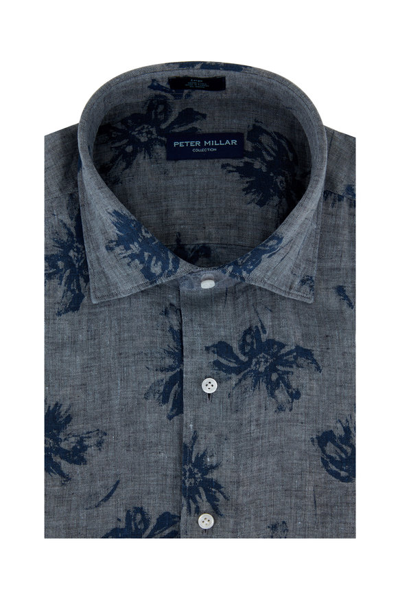 Peter Millar Gray Chambray Urban Safari Printed Sport Shirt