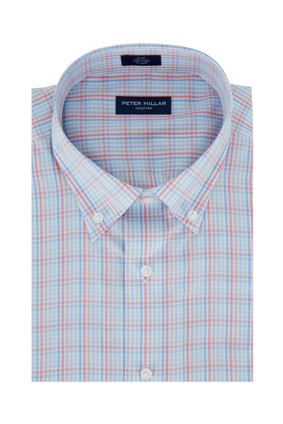 Peter Millar Multicolor Reef Check Cotton Sport Shirt