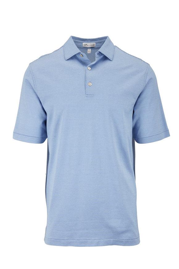 Peter Millar Blue Jacquard Short Sleeve Polo