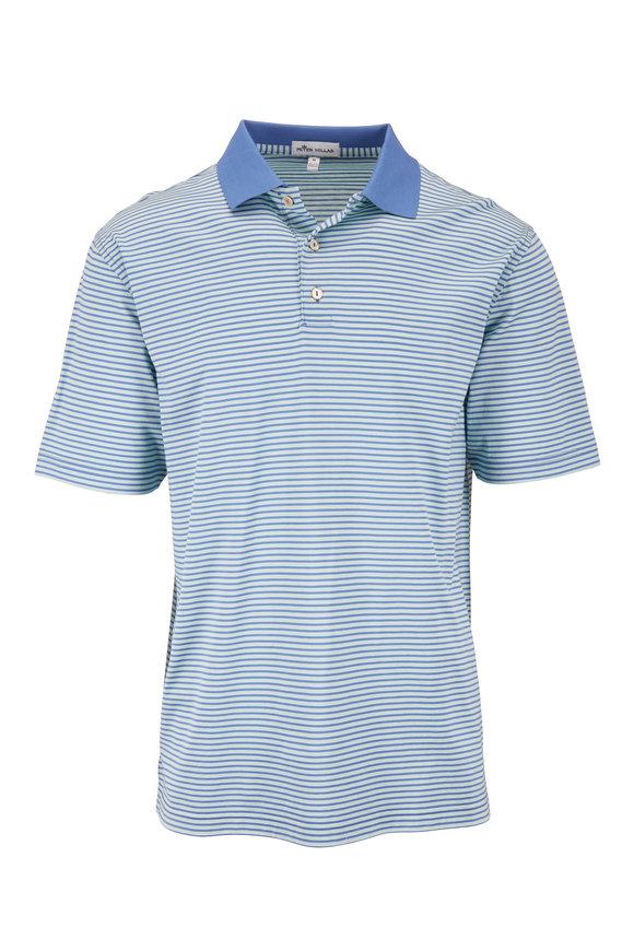 Peter Millar Blue & Green Striped Cotton Short Sleeve Polo