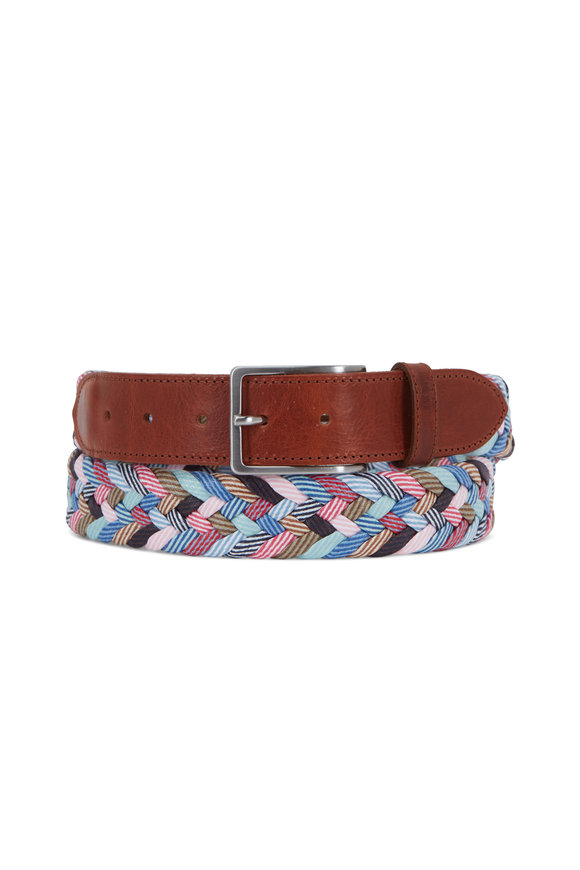 Peter Millar Multicolor Kaleidoscope Braided Belt