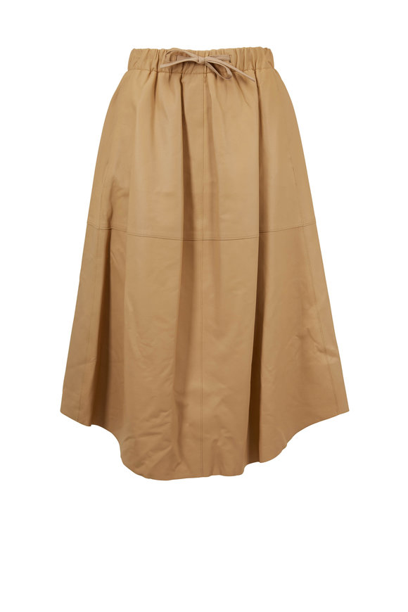 Vince Sand Ember Leather Skirt