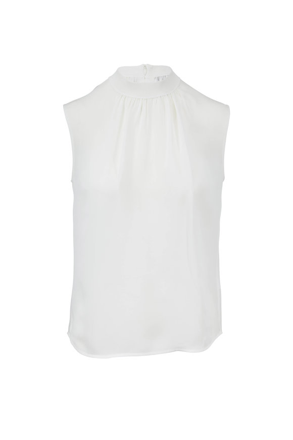 Vince Off-White Silk Rib Trim Shell