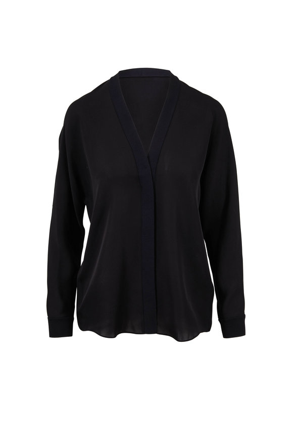Vince Black Silk Rib Trim V-Neck Blouse