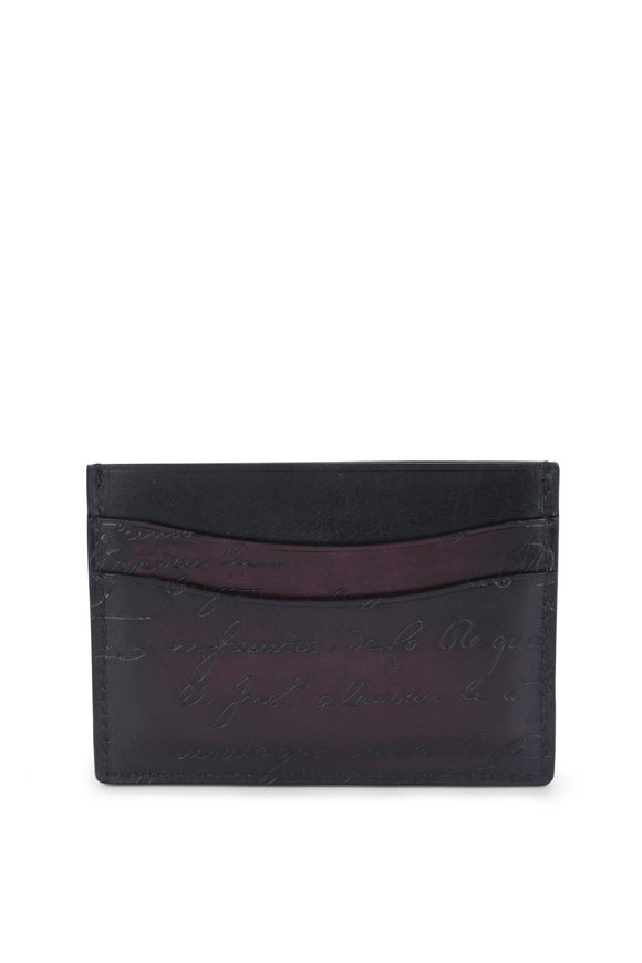 Berluti Bambou Burgundy Engraved Leather Card Holder