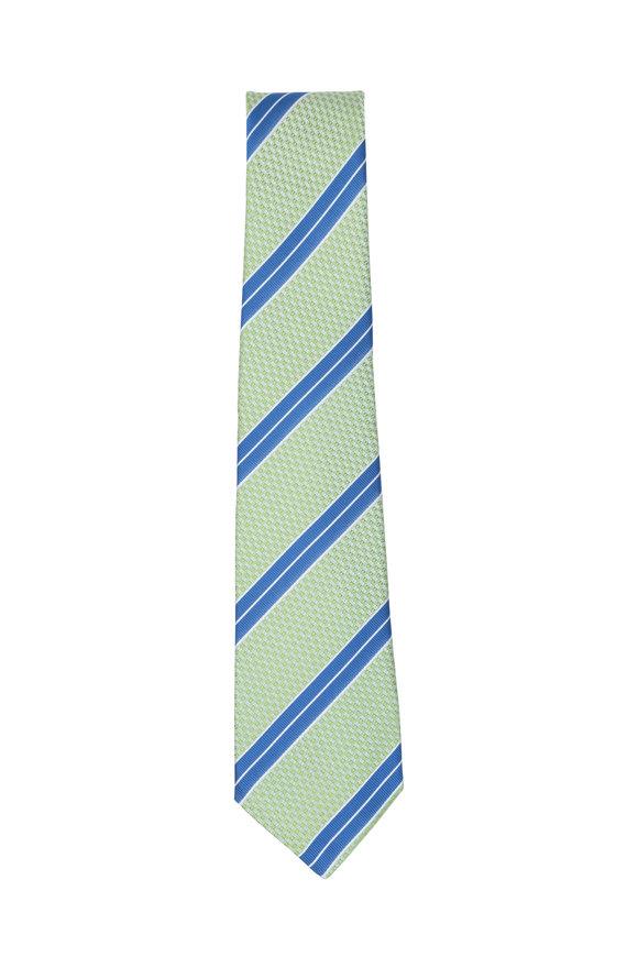 Kiton Lime Green & Blue Striped Silk Necktie