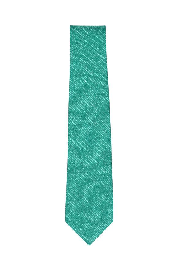 Kiton Green Silk & Linen Necktie