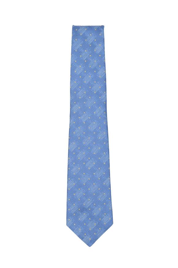 Kiton Perrywinkle & Gold Dot Silk Necktie