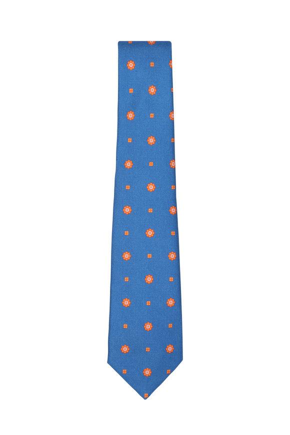 Kiton Royal Blue & orange Medallion Silk Necktie