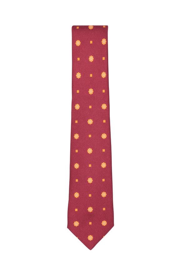 Kiton Red & Yellow Floral Silk Necktie