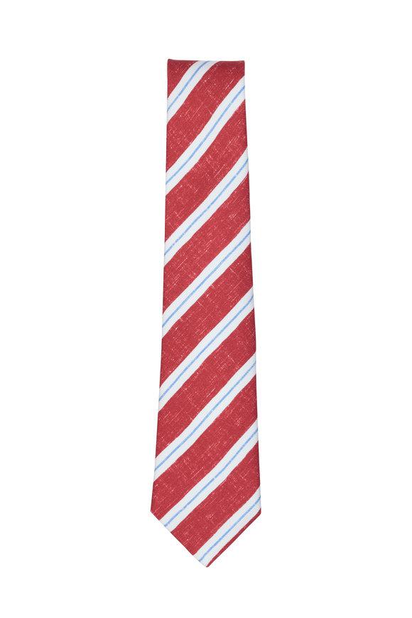 Kiton Red & White Striped Silk Necktie