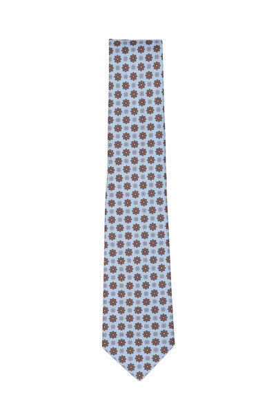 Kiton - Light Blue & Brown Floral Silk Necktie