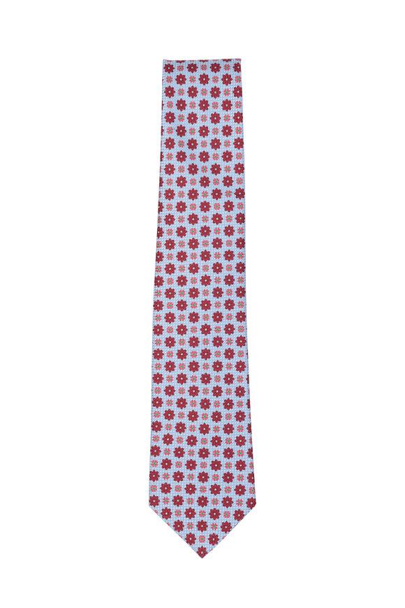 Kiton Light Blue & Red Floral Silk Necktie