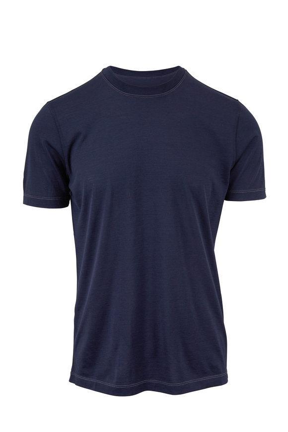 Brunello Cucinelli Navy Blue Silk & Cotton Slim Fit T-Shirt