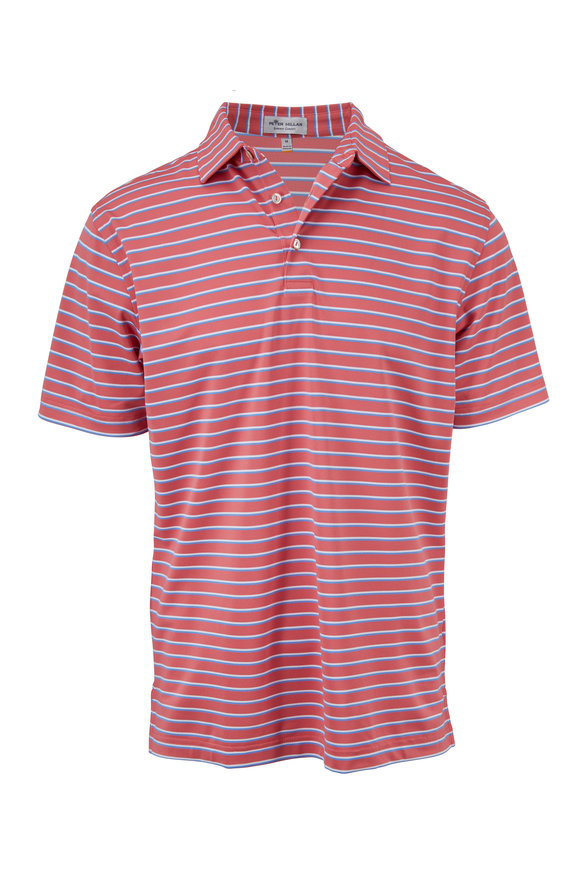 Peter Millar Summer Comfort Coral & Blue Striped Polo