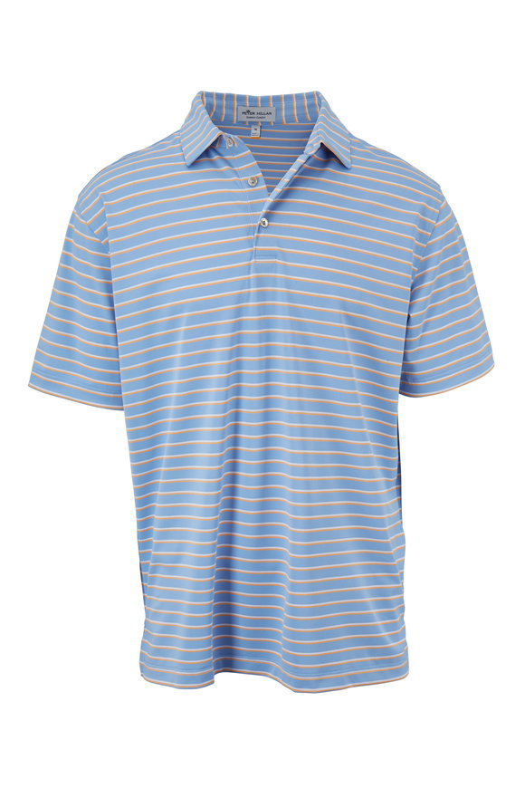 Peter Millar Summer Comfort Blue & Orange Striped Polo
