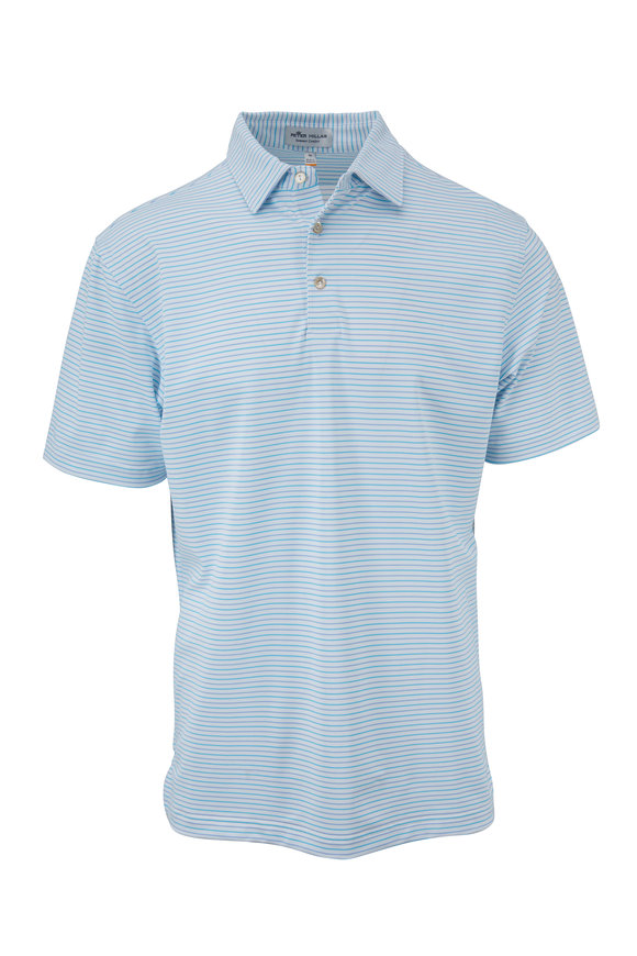 Peter Millar Summer Comfort White & Teal Striped Polo