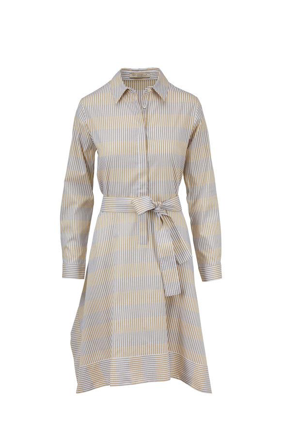 Rani Arabella Mustard Striped Cotton Belted Shirtdress
