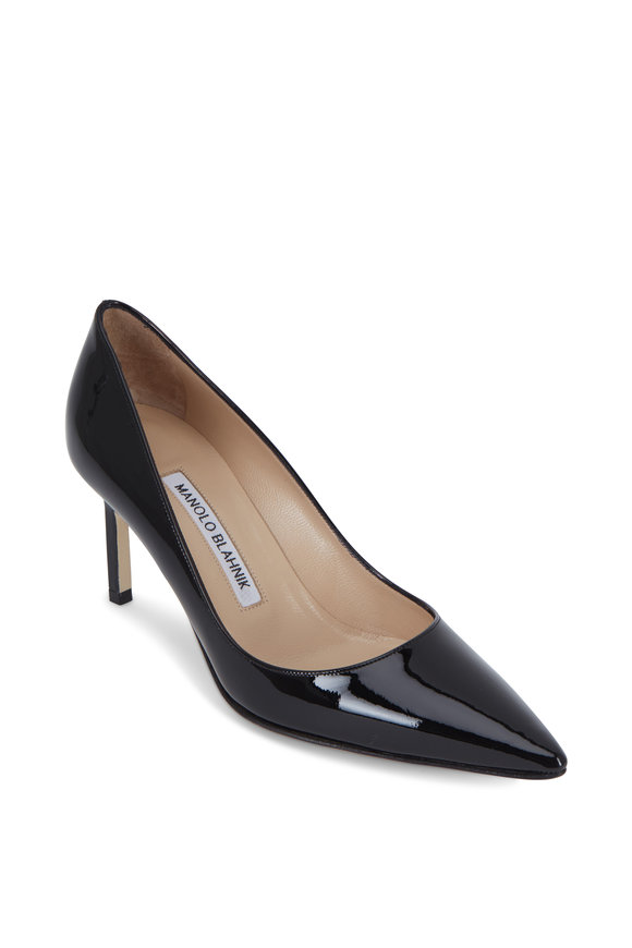 e2dc8f533f1 Manolo Blahnik Lisa Black Patent Leather Pump