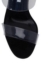 Manolo Blahnik - Scolto Black Suede Clear Strap Mule, 90mm