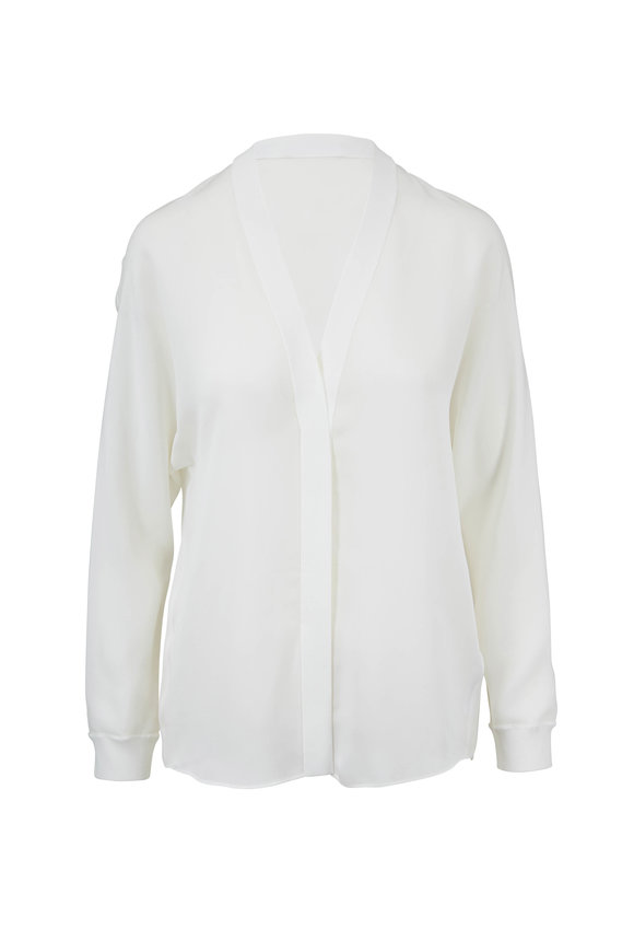Vince Off-White Silk Ribbed-Trim Popover Blouse