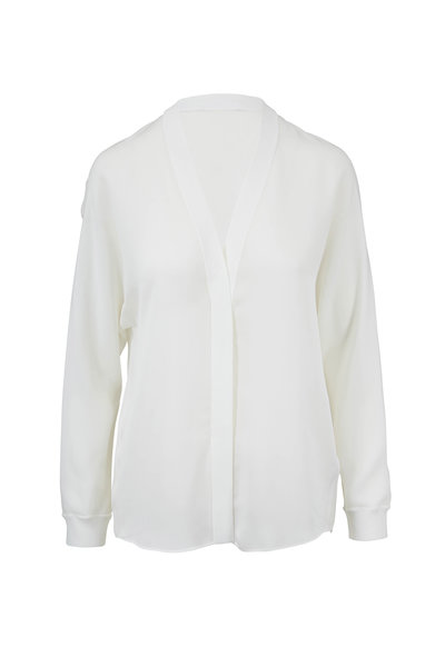 Vince - Off-White Silk Ribbed-Trim Popover Blouse