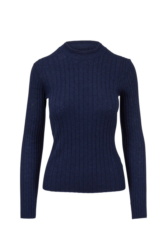 Vince Ink & Coastal Cashmere Mixed Ribbed Top