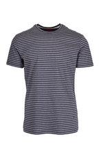 Isaia - Grey Tonal Striped T-Shirt