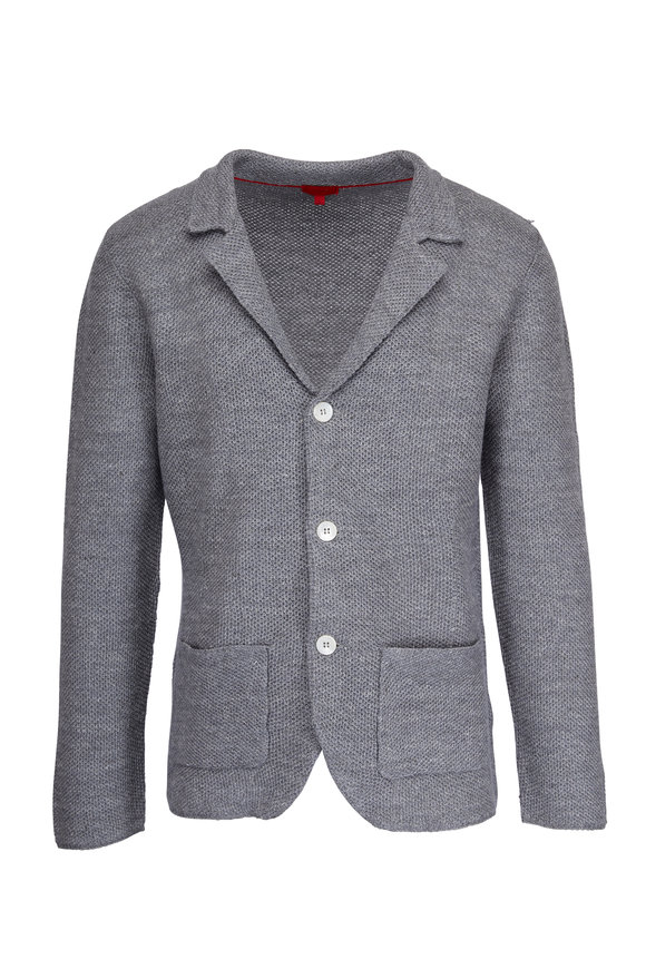 Isaia Grey Linen & Wool Knit Three-Button Jacket
