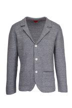 Isaia - Grey Linen & Wool Knit Three-Button Jacket