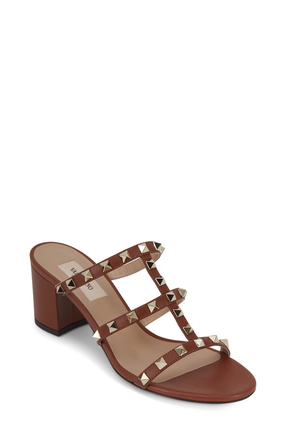 Valentino Garavani Rockstud Cognac Leather City Mule, 60mm