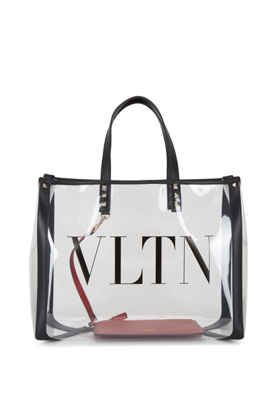 Valentino Garavani - VLTN Clear Plexy Detachable Red Pouch Large Tote