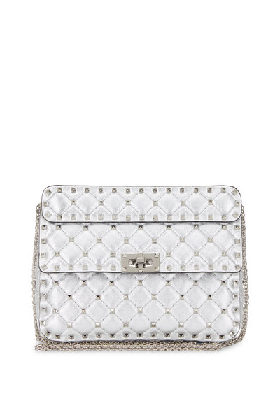 Valentino Garavani - Rockstud Spike Metallic Silver Medium Bag