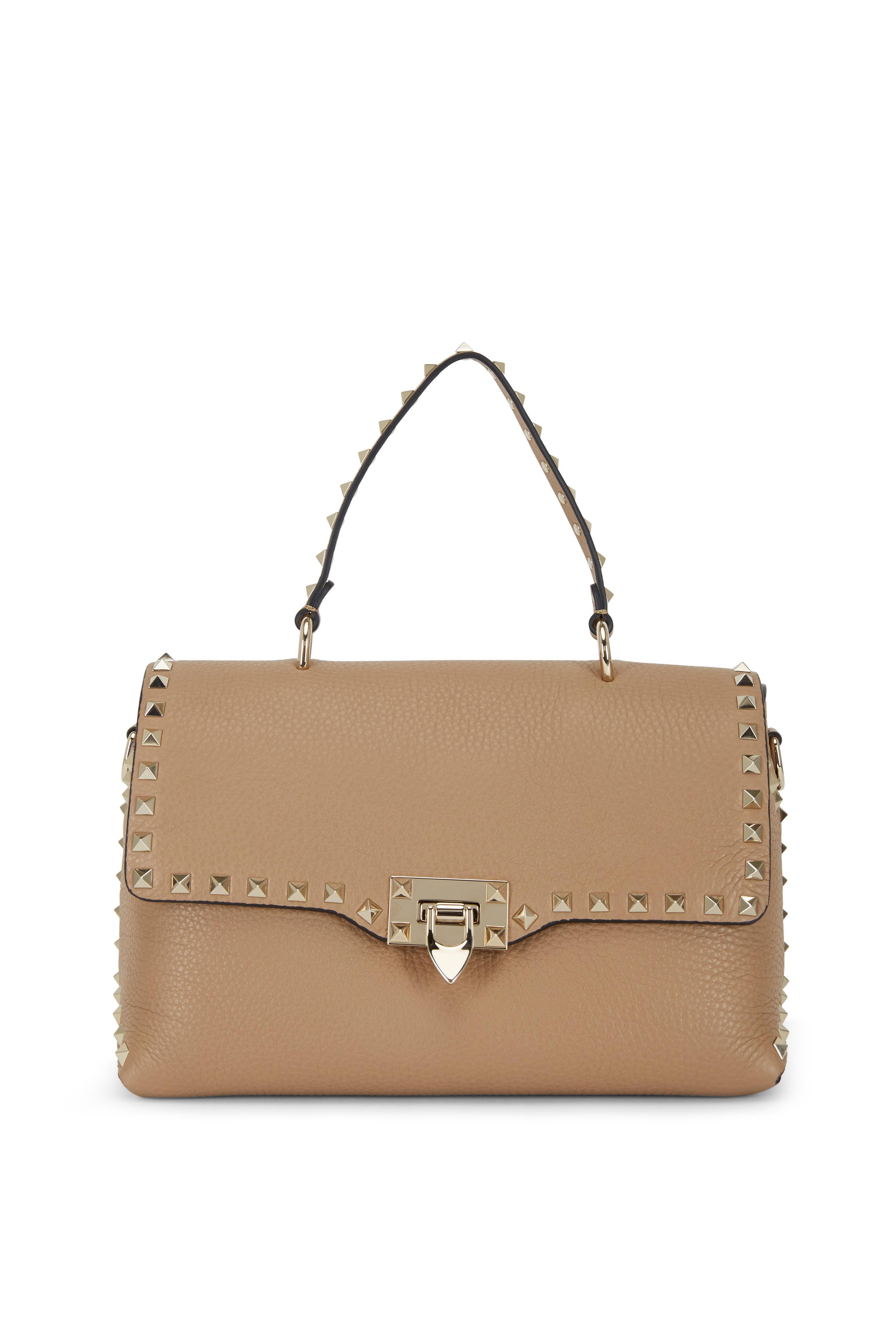 07934e4efc6 Valentino Garavani - Rockstud Taupe Leather Top Handle Medium Bag ...
