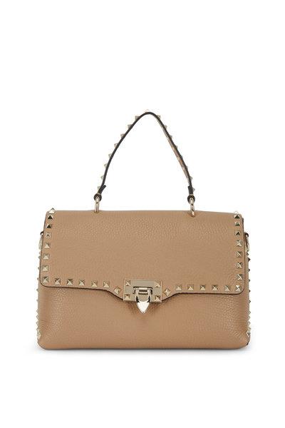 Valentino Garavani - Rockstud Taupe Leather Top Handle Medium Bag