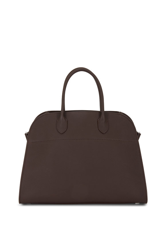 The Row Margaux 15 Raisin Grained Leather Large Tote