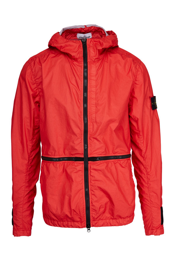 Stone Island Membrana 3L-TC Red Nylon Three-Layer Hooded Jacket