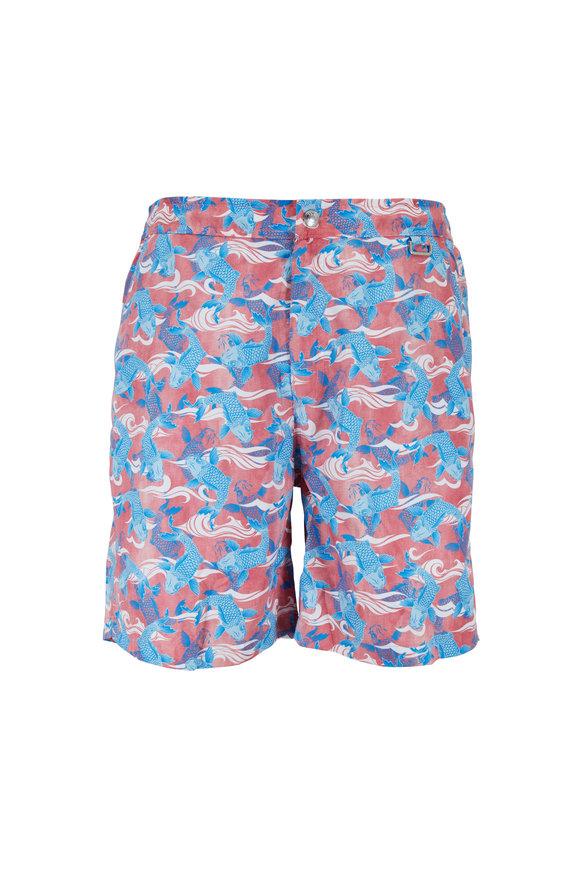Peter Millar Red & Blue Good Fortune Swim Trunks