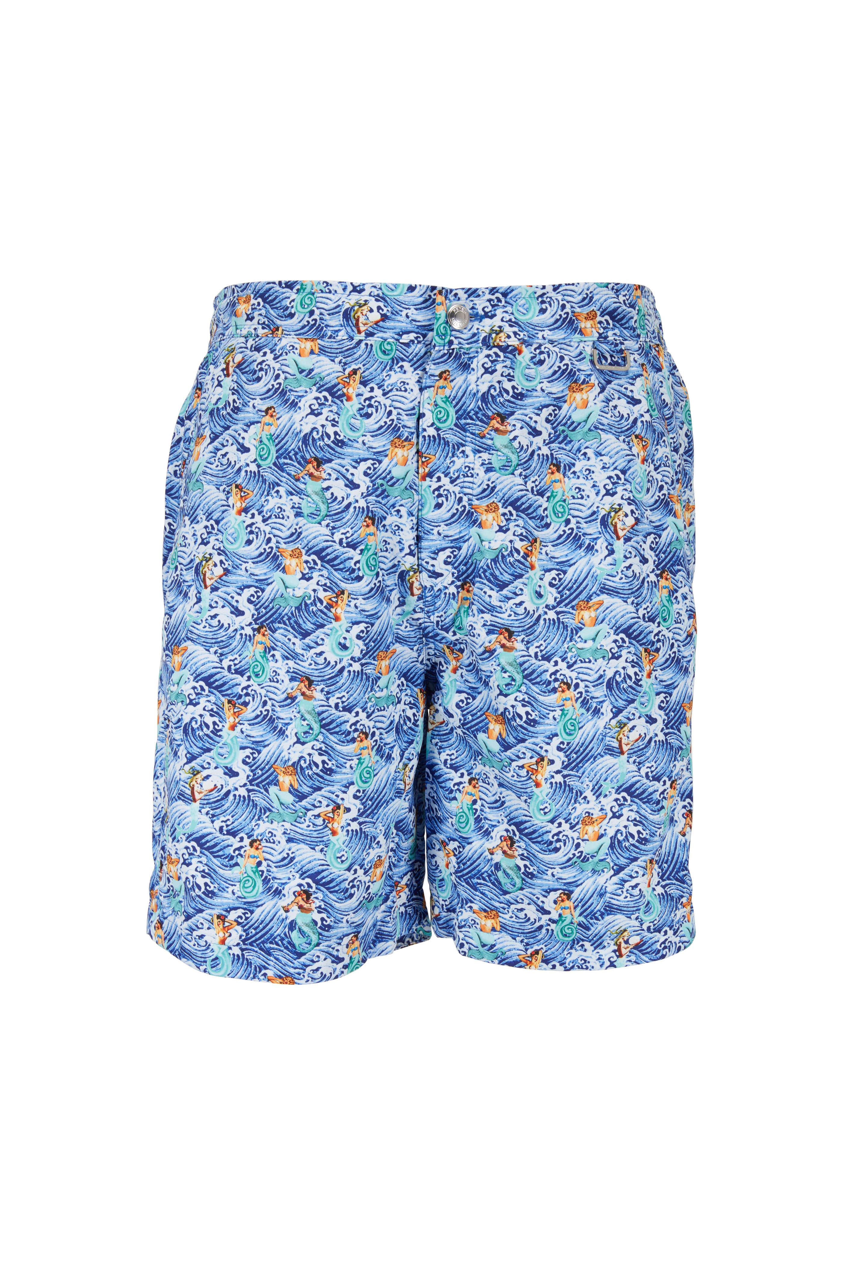 8cb2cf6451 Peter Millar - Blue Sea Foam & Mermaid Swim Trunks   Mitchell Stores