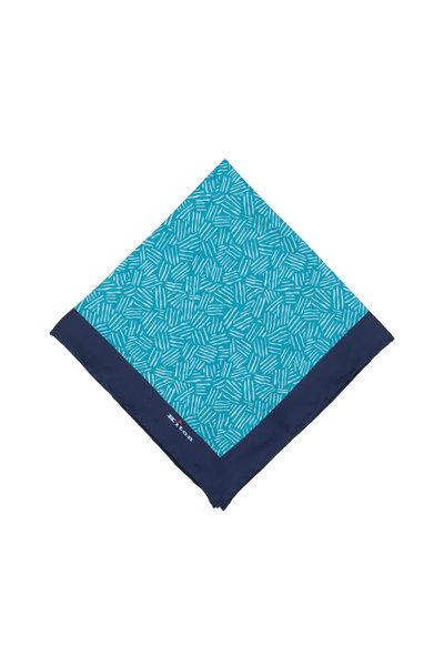 Kiton - Turquoise & Blue Geometric Silk Pocket Square