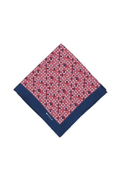 Kiton - Red & Blue Geometric Silk Pocket Square
