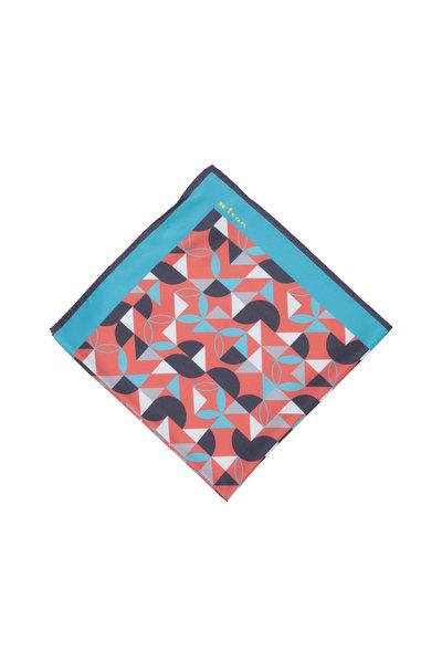 Kiton - Teal & Orange Geometric Silk Pocket Square