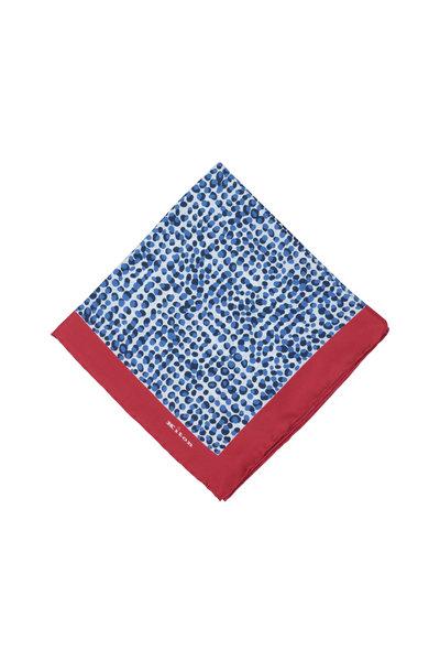 Kiton - Blue & Red Geometric Silk Pocket Square