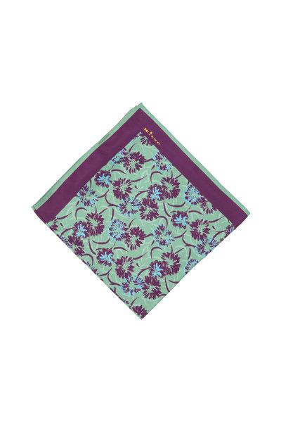 Kiton - Green & Purple Floral Silk Pocket Square