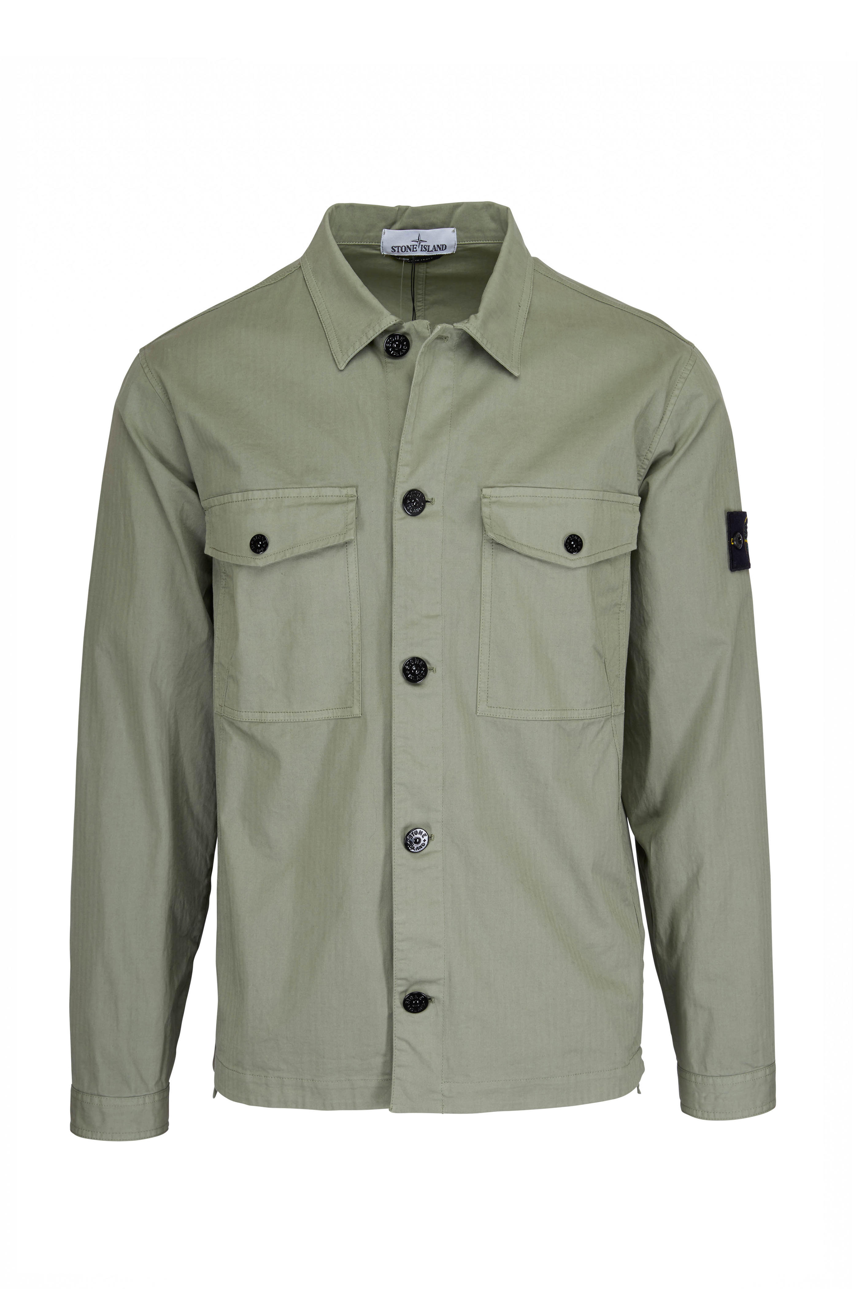 ce1789c98e72 Stone Island - 12002 Sage Cotton Two-Patch Pocket Overshirt ...