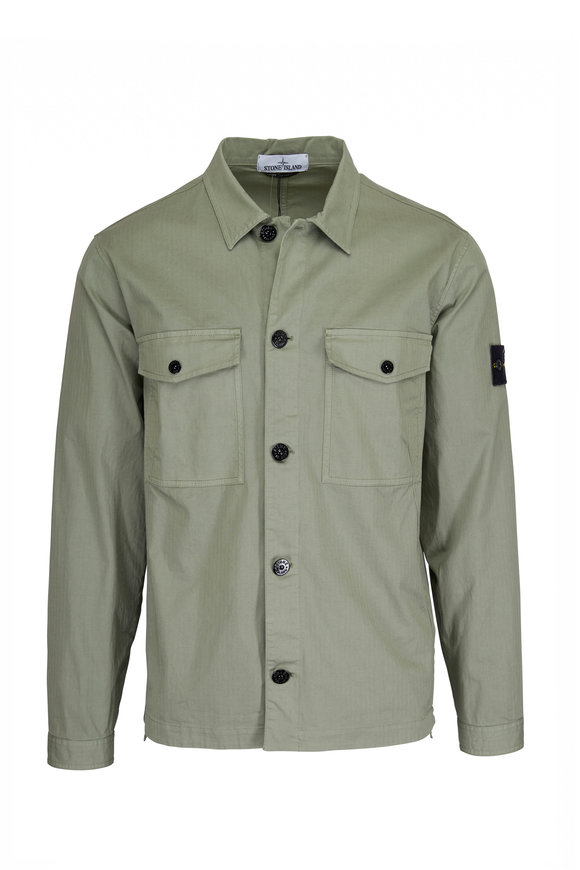 Stone Island 12002 Sage Cotton Two-Patch Pocket Overshirt