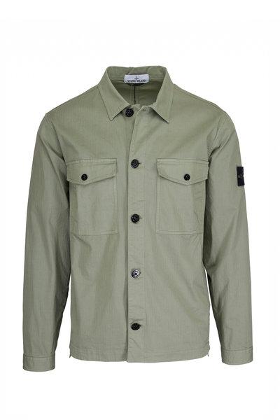 Stone Island - 12002 Sage Cotton Two-Patch Pocket Overshirt
