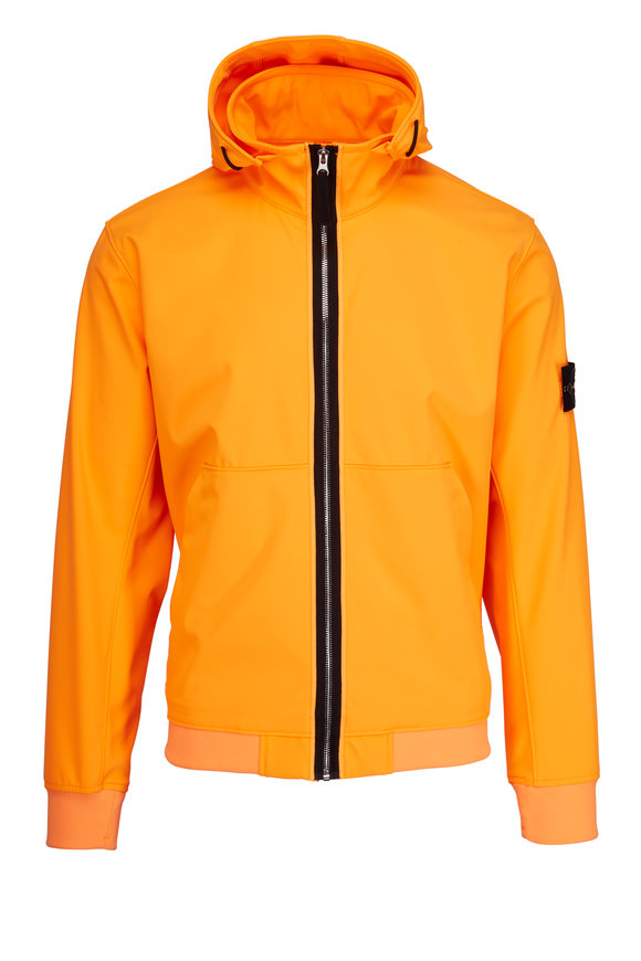 Stone Island Orange Nylon Hooded Jacket
