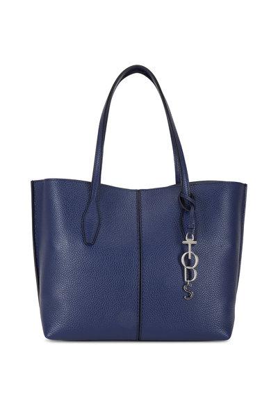 Tod's - Joy Blue Pebbled Leather Medium Shoulder Bag